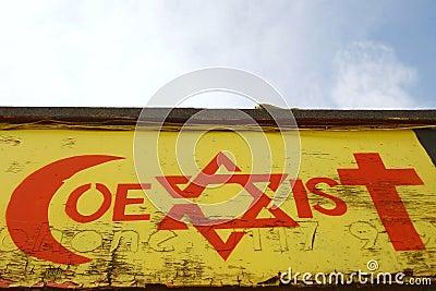 Pintada temática de la tolerancia religiosa Imagen editorial