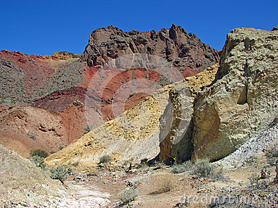 Pinto Valley near Lake Mead Nevada show colorful geologic formations.