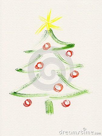 Pintura de la acuarela del árbol de navidad
