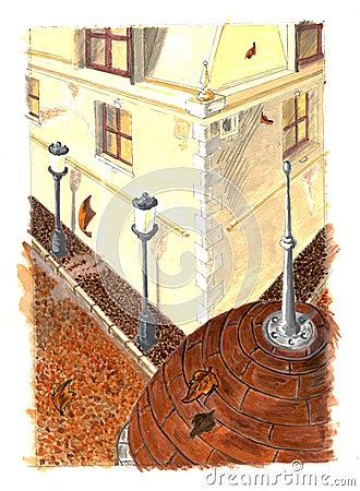 Pintura de la ciudad del otoño