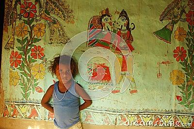 Pintura de Madhubani en la Bihar-India Foto editorial