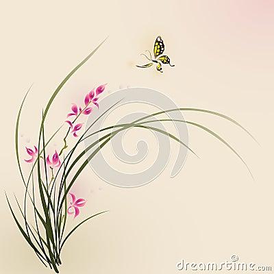 Pintura del estilo, flores de la orquídea y mariposa orientales