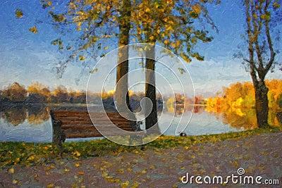 Pintura a óleo com lago do outono