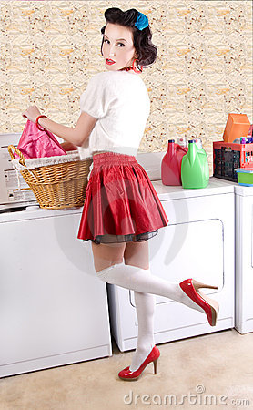 Pin Up Laundry. PINUP BEAUTY IN THE LAUNDRY