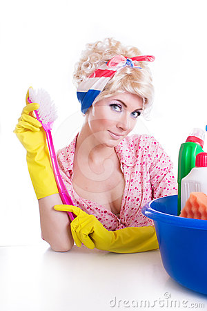 Pinup girl with cleaning set