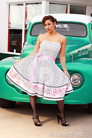Pinup Girl in Front of Retro Truck