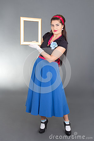 Pinup girl with photo frame