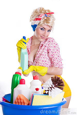 Pinup woman with cleaning set