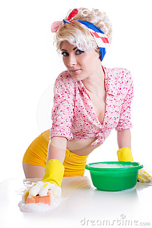 Pinup woman with sponge and foam