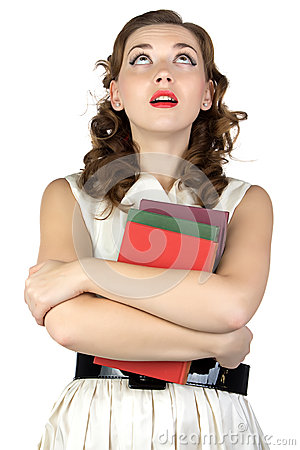 Free Pinup Young Woman With Books Looking Up Stock Photography - 47508772