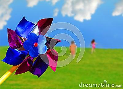 Pinwheel and Running Children