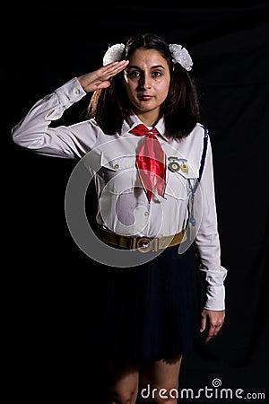 Free Pioneer Girl Salute Stock Photography - 50217272