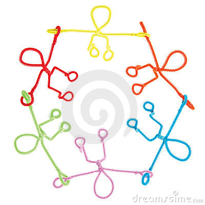 Pipe cleaner figures holding hands in circle