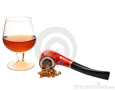 Pipe and cognac glass