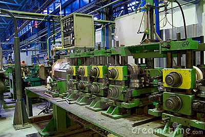 Pipe making machine at work