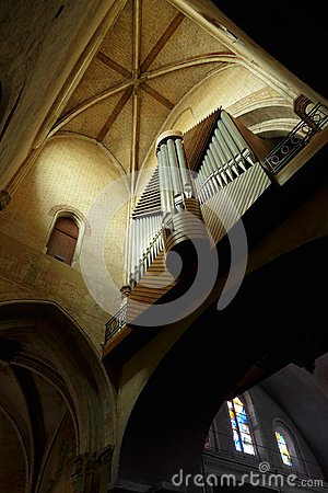 Pipe organ in Ancient French cathedral