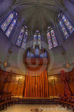 Pipe Organ Stained Glass Altar at Grace Cathedral