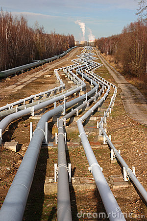 Pipelines leading into the horizon