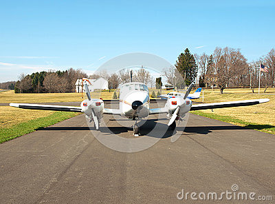 Airplane at a rural airfield