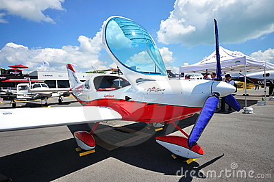 Piper sport aircraft at Singapore Airshow 2010 Editorial Photo
