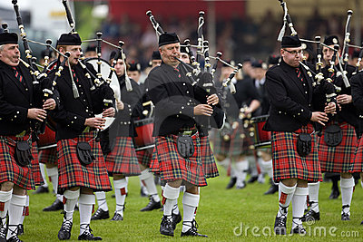 Pipers at the Cowal Gathering in Scotland Editorial Stock Image