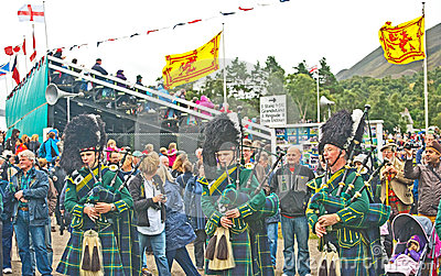 Pipers playing at Braemar Royal Gathering Editorial Photography