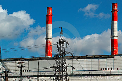 Pipes of coal  burning power station