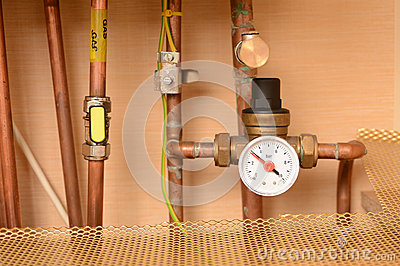 Pipes and pressure gauge