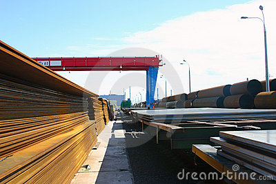 Pipes, steel sheets are on finished-products area