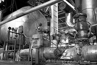 Pipes, tubes, machinery and steam turbine bw