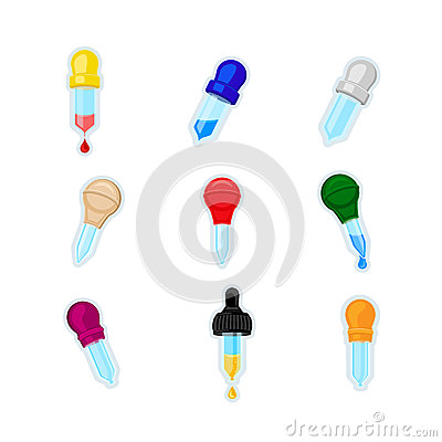 Pipette Icon. Set of different colors pipettes with blood, water or oil isolated Vector Illustration