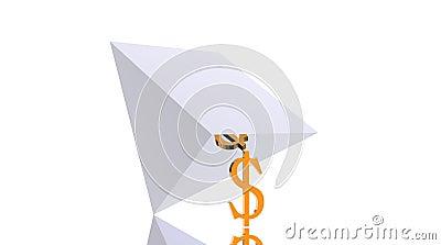 Pirâmide de queda de apoio do dólar poderoso