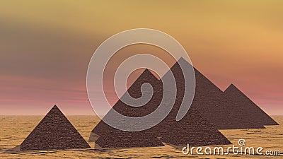 Pirâmides em Egito - 3D rendem