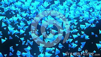 Pir?mides azules en fondo negro La conexi?n de la pir?mide 3d con poligonal geom?trico Animaci?n del lazo cyberspace Sym del nego stock de ilustración