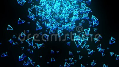 Pir?mides azules en fondo negro La conexi?n de la pir?mide 3d con poligonal geom?trico Animaci?n del lazo cyberspace Sym del nego libre illustration