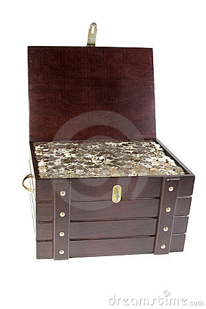 Piracy chest with coins isolated
