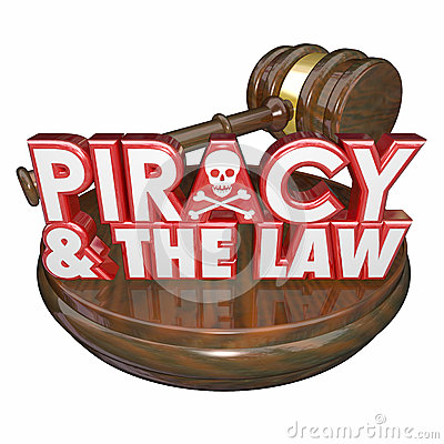 Piracy and the Law Words Judge Gavel Illegal Downloads