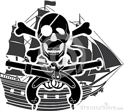 Piracy ship rossed bones