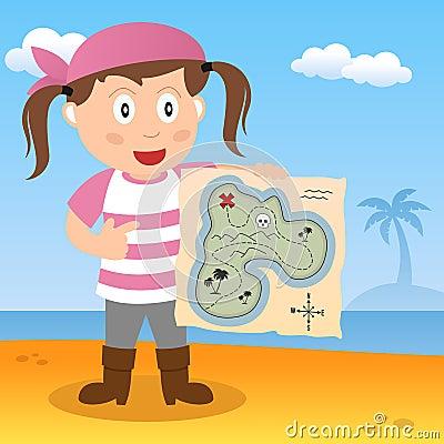 Pirat mit Karte auf einem Strand