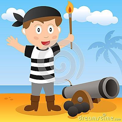 Pirata com canhão em uma praia