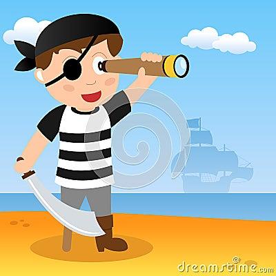 Pirata com telescópio pequeno em uma praia