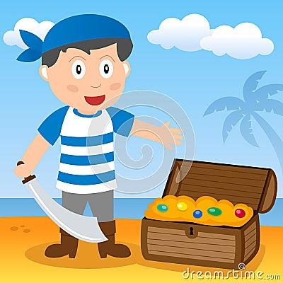 Pirata com tesouro em uma praia