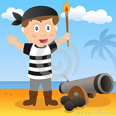 Pirata con il cannone su una spiaggia