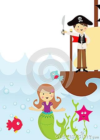 Pirata y sirena en el mar