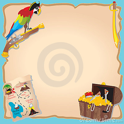 Pirate Birthday Party  and treasure hunt Invitatio