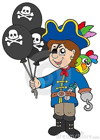 Free Pirate Boy With Balloons Royalty Free Stock Images - 9511629