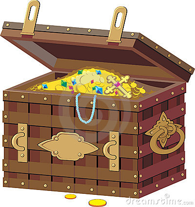 Pirate chest with treasures.