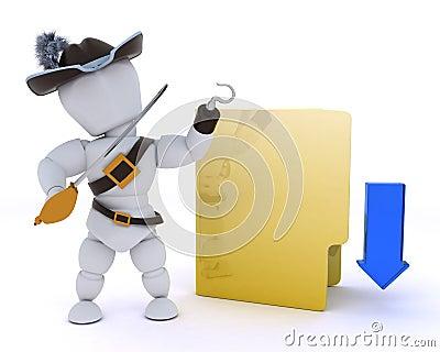 Pirate depicting illegal downloads