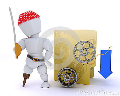 Pirate depicting illegal video downloads
