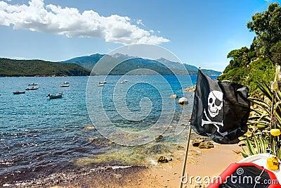 Pirate Flag in Forno beach,  Elba Island